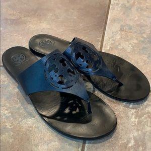Tory Burch zoey thong cut out logo black sandal
